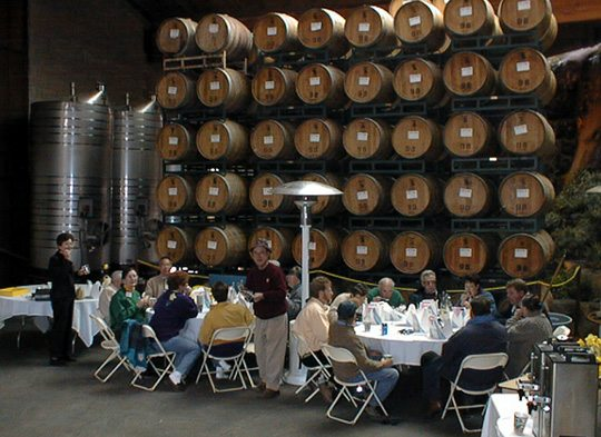 Lunch among the barrels!
